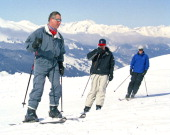 The Prince Of Wales And Princes William Harry Skiing In Klosters Switzzerland