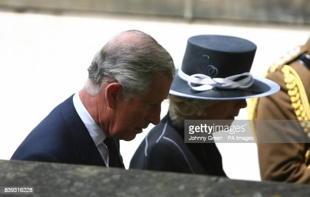 The Prince of Wales and the Duchess of Cornwall arrive for the funeral of Lieutenant Colonel Rupert Thorneloe commanding officer of the 1st Battalion...