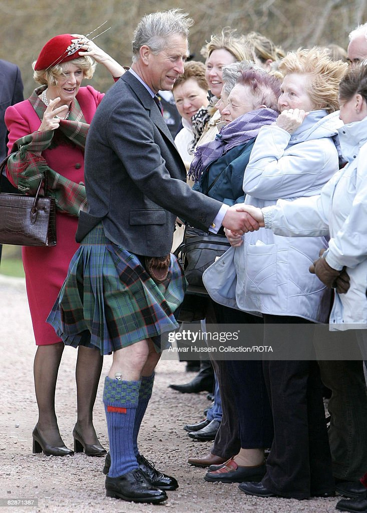 The Prince of Wales and the Duchess of Cornwall meet well-wishers at Crathie Parish Church in Aberdeenshire in blustery weathery Sunday April 10, 2005 in their first public engagement since becoming husband and wife yesterday. <a gi-track='captionPersonalityLinkClicked' href=/galleries/search?phrase=Prince+Charles&family=editorial&specificpeople=160180 ng-click='$event.stopPropagation()'>Prince Charles</a>, known as the Duke of Rothesay when in Scotland and Camilla, Duchess of Cornwall were greeted with a round of applause by the hundred or so onlookers on their arrival at the church.