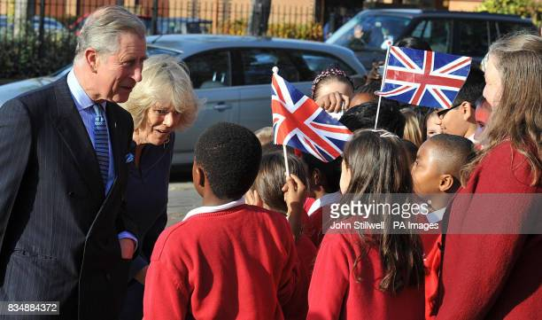 The Prince of Wales and the Duchess of Cornwall meet youngsters at a Prince's Trust project at Beckton Community Centre in east London