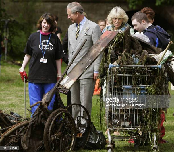 The Prince of Wales and The Duchess of Cornwall observe how a Prince's Trust project is improving the local environment at Niddrie Burn in the...