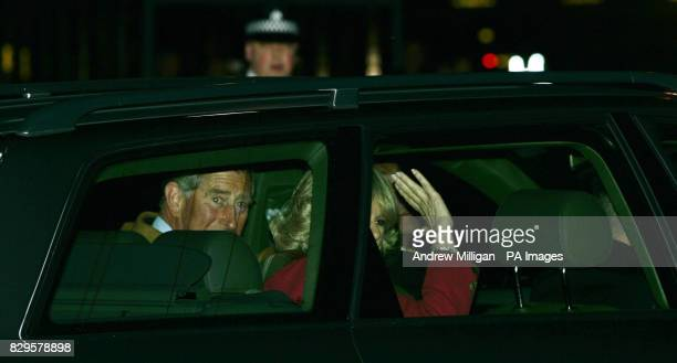 The Prince of Wales and the Duchess of Cornwall wave to the crowds as they leave Aberdeen airport on their way to start their honeymoon at Birkhall...