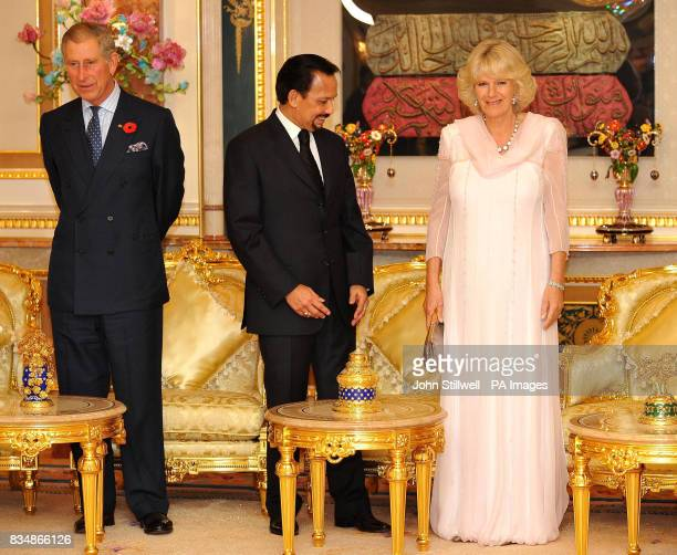 The Prince of Wales and the Duchess of Cornwall with the Sultan of Brunei at a reception before dinner at the Royal Palace in Bandar Seri Begawan...
