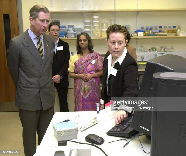 The Prince of Wales as patron of the mental health charity Sane is shown gene technology by Dr Nic Williams during his tour when he officialy opened...