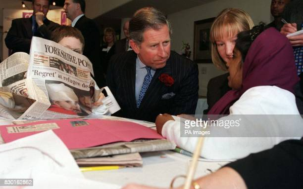 The Prince of Wales at the launch of the Yorkshire and Humber Right to Read program at the Yorkshire Post Leeds talks to Tanzina Bibi and Alison...