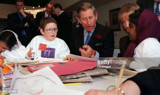 The Prince of Wales at the launch of the Yorkshire and Humber Right to Read program at the Yorkshire Post Leeds talks to Ben Partridge Tanzina Bibi...