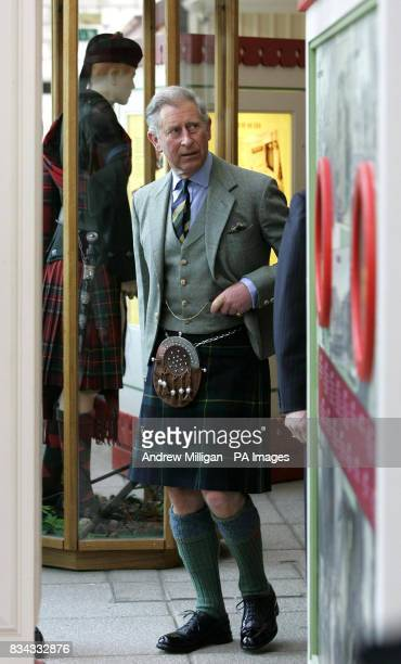 The Prince of Wales at the old railway station in Ballater Royal Deeside where a reproduction Victorian railway carriage has been built