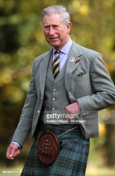 The Prince of Wales at the royal residence of Birkhall near Ballater Aberdeenshire where he is presenting service medals to members of the Queen's...