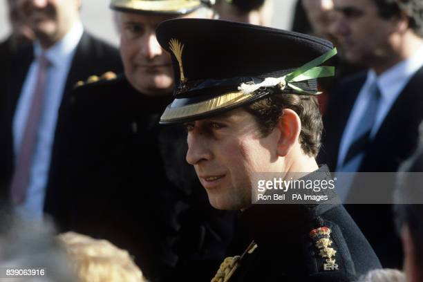 The Prince of Wales attending the Regimental St David's Day Parade as Colonel of the Welsh Guards when he visited the 1st Battalion at Queen...