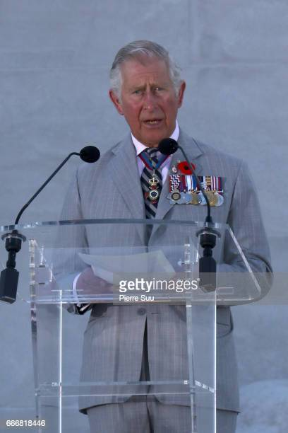 The Prince of Wales attends the centenary commemorative service at the Canadian National Vimy Memorial on April 9 2017 in Vimy France on April 9 2017...