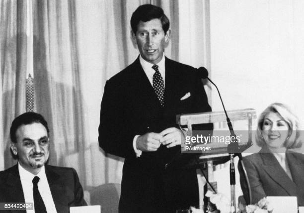 The Prince of Wales delivers a speech at the SANE Luncheon at the Savoy Hotel London HRH Prince Turki AlFaisal of the King Faisal Trust Saudi Arabia...
