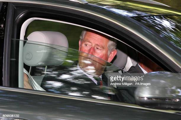The Prince of Wales drives himself to Crathie Kirk near Balmoral for a Sunday church service