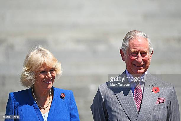 The Prince Of Wales Duchess Of Cornwall on the steps of Parliament prior to the Wellington parade as part of the New Zealand All Blacks Welcome Home...
