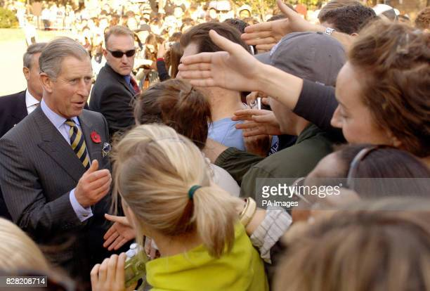 The Prince of Wales during a visit to Georgetown University in Washington DC Thursday 3 November 2005 Charles was met with clapping and cheering...