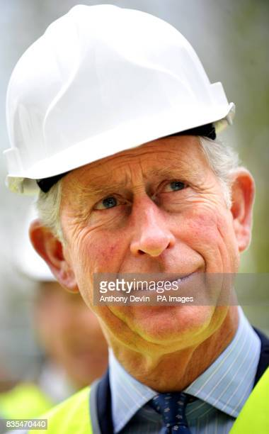 The Prince of Wales during a visit to the Building Research Establishment Innovation Park to view progress on his pioneering low energy ecohome in...