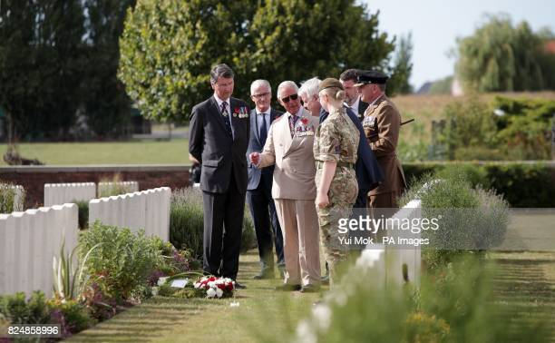 The Prince of Wales during a wreath laying ceremony at the Artillery Wood Cemetery in Ypres Belgium to mark the centenary of Passchendaele
