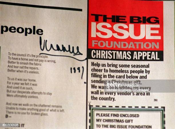 The Prince of Wales gave his signature to a copy of the Big Issue belonging to Big Issue seller Clive Harold with whom he shared a joke on learning...