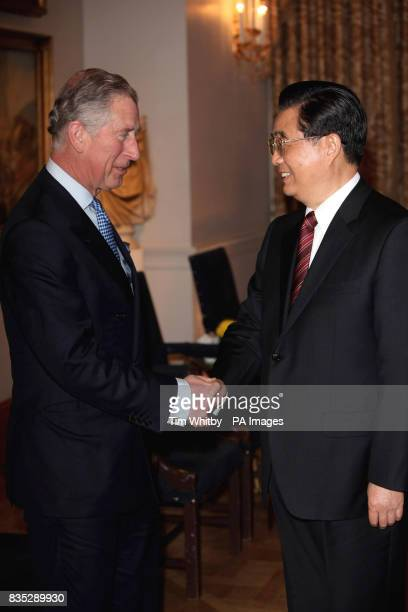 The Prince of Wales greets Chinese President Hu Jintao at The Mandarin Oriental Hotel London