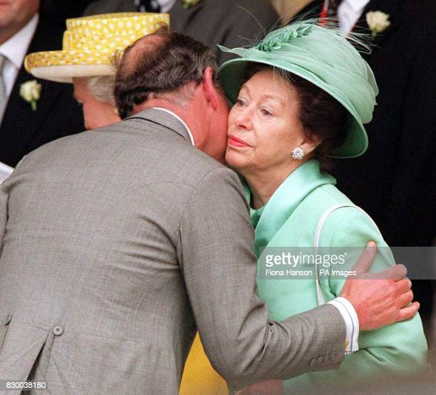 The Prince of Wales greets his aunt HRH Princess Margaret on arriving at the wedding of the late Earl Louis Mountbatten's grandson Timothy Knatchbull...