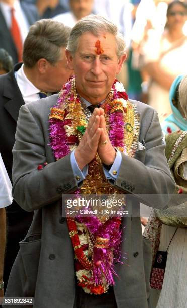 The Prince of Wales greets wellwishers while touring the old city of Jaipur Friday March 31 2006 Charles's twoweek overseas tour with the Duchess of...