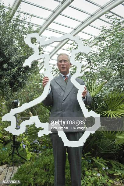 The Prince of Wales holds an outline of Wales to signify the size of an area of rainforest in Africa the 'Size of Wales Rainforest Initiative' hopes...