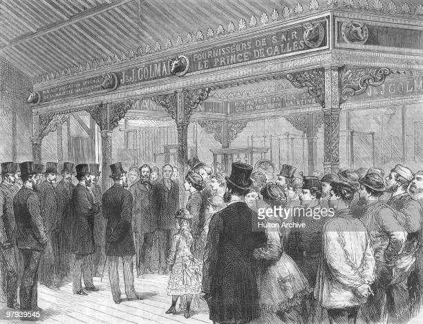 The Prince of Wales inspects the British Section during the opening of the Paris World's Fair 1st May 1878 The crowd is gathered at the JJ Colman...