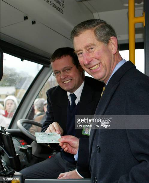 The Prince of Wales is given a ticket by bus driver David Wilson before travelling from Clitheroe in Lancashire to the village of Chipping on a new...