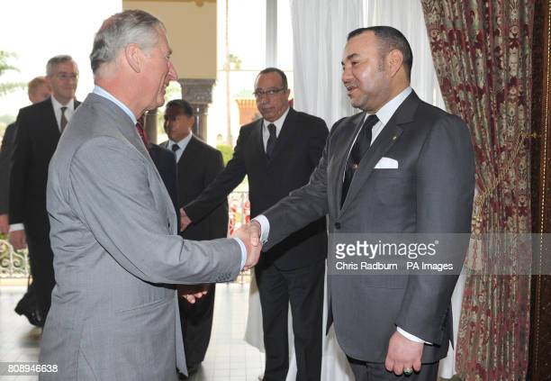 The Prince of Wales is greeted by Moroccan King Mohammed VI prior to an audience at The Palace Royal in Rabat Morocco