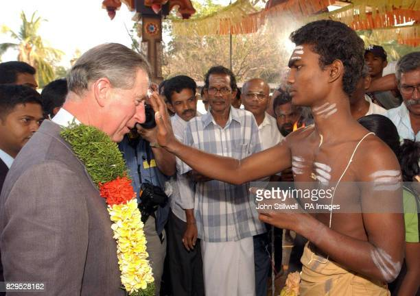 The Prince of Wales is marked with paint on the forehead called Sindoor as a sign of good luck after he arrived at a Hindu Temple in the totally...