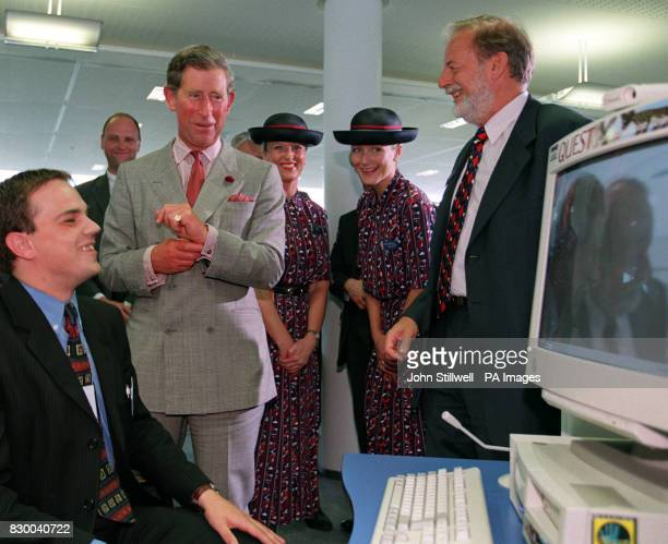 The Prince of Wales is shown around the British Airways 200 million Waterside business centre near Heathrow today Director of Information Management...