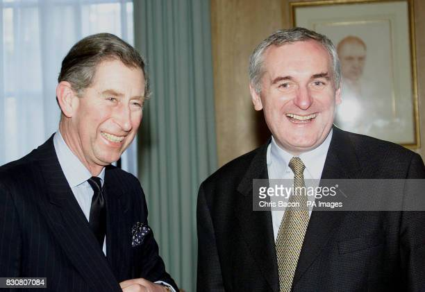 The Prince of Wales jokes with the Irish Prime Minister Bertie Ahern during their meeting at at Government Buildings Dublin The Prince is on a two...