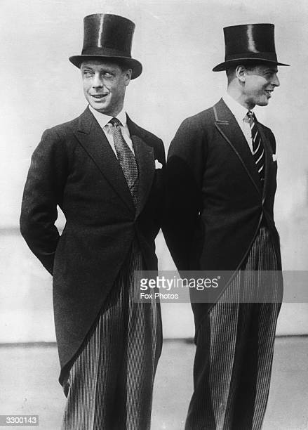 The Prince of Wales later King Edward VIII with his brother the Duke of Kent on their American Tour both in top hats and tails