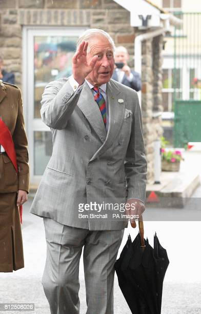 The Prince of Wales leaves following a tour of The Regimental Museum of the Royal Welsh in Brecon Wales