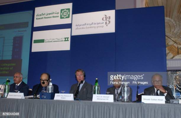 The Prince of Wales listens to a speech translation during an Islamic Banking and Development Conference held in Piccadilly on which he was...