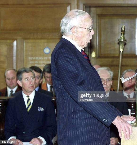 The Prince of Wales listens to Lord Deedes former editor of the Daily Telegraph during his address at a service in St Bride's Church in London's...