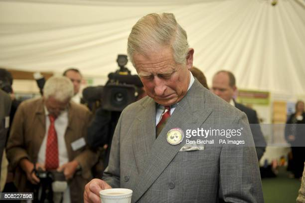 The Prince of Wales looks at a 'Sheep Festival' badge he was given at the National Botanic Gardens of Wales in Carmarthen as he continues his tour of...