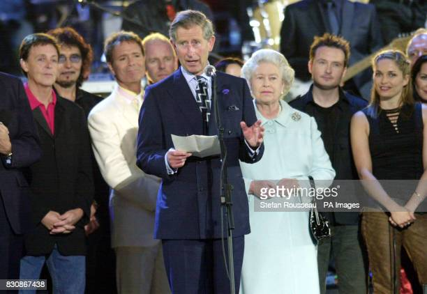 The Prince of Wales makes a speech in praise of his mother Britain's Queen ELizabeth II on stage in the gardens of Buckingham Palace after the second...