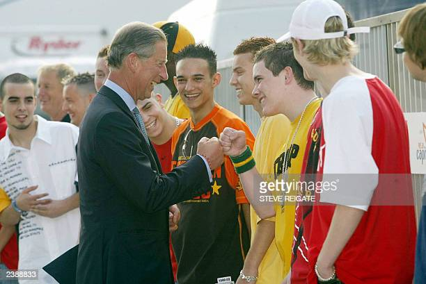 The Prince of Wales meeting members of the group Blazin Squad at the Capital Radio Party in the Park in Hyde Park 06 July 2003 in London The concert...