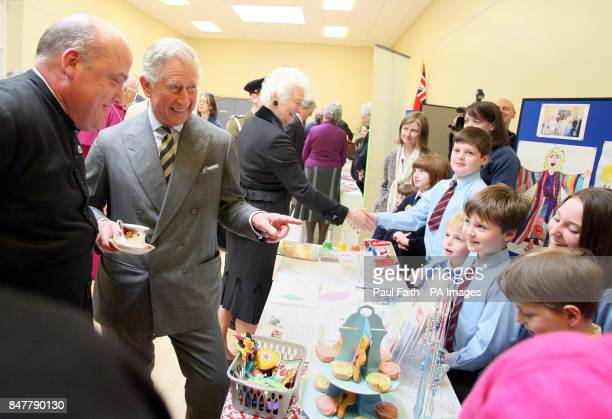 The Prince of Wales meets children from the Sunday school at St George's Church in Belfast