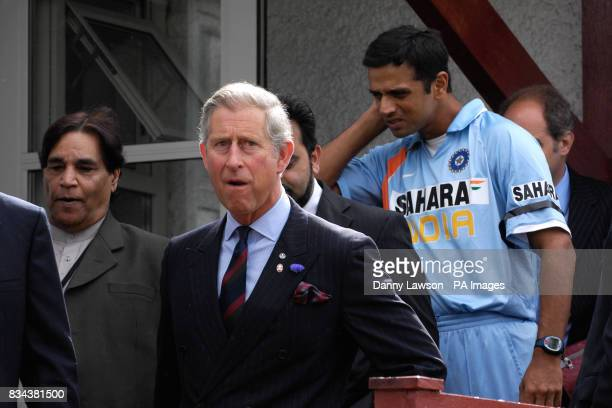 The Prince of Wales meets Indian captain Rahul Dravid ahead of the Future Friendship Cup cricket match between India and Pakistan at the Citylets...