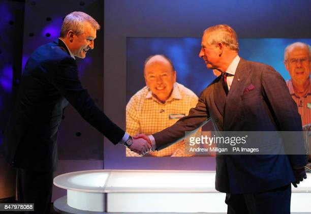 The Prince of Wales meets presenter Jeremy Vine whilst on a tour of the Eggheads set at BBC Scotland Headquarters in Glasgow where they met staff to...
