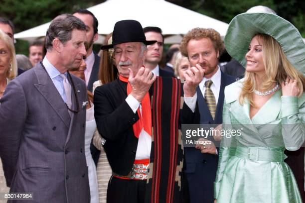 The Prince of Wales meets the King of the Gouchos Guivaldes and actress Graciela Alfano at a British Embassy garden party before leaving Buenos Aires