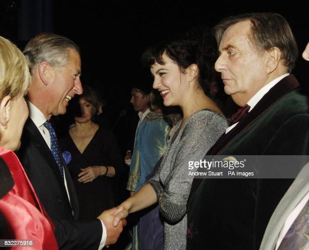 The Prince of Wales Patron of mental health charity SANE meets Barry Humphries after the John Betjeman Centenary Gala in The Prince of Wales Theatre...