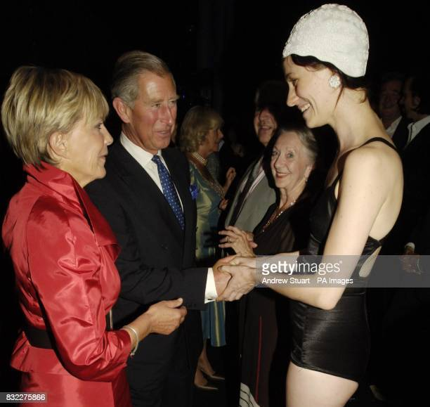 The Prince of Wales Patron of mental health charity SANE meets 'bathing beauty' Jo Israel after the John Betjeman Centenary Gala in The Prince of...