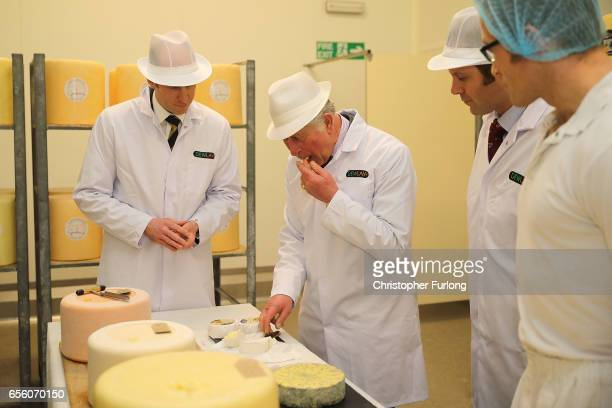 The Prince of Wales Patron of The Specialist Cheesemakers Association tastes some cheese during his visit to Dewlay Cheesemakers on March 21 2017 in...