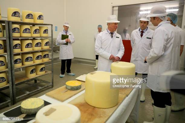 The Prince of Wales Patron of The Specialist Cheesemakers Association chats to Nick and Richard Kenyon during his visit to Dewlay Cheesemakers on...
