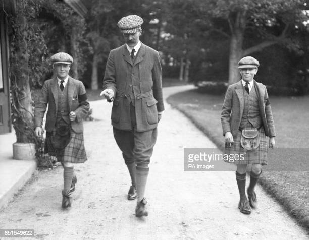 The Prince of Wales Prince Edward at Balmoral with Prince Albert and their tutor 1911