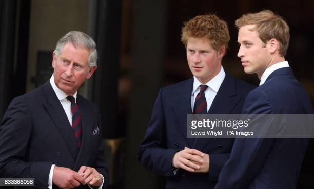 The Prince of Wales Prince William and Prince Harry greet guests as they arrive for the Service of Thanksgiving for the life of Diana Princess of...