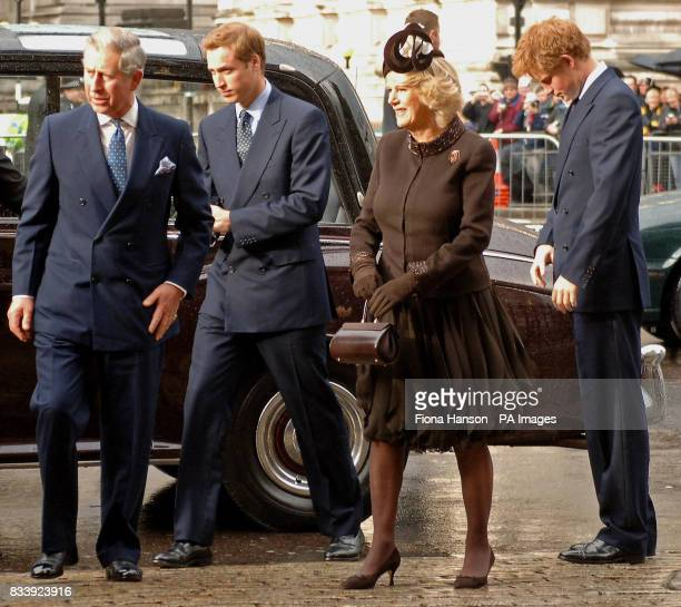 The Prince of Wales Prince William the Duchess of Cornwall and Prince Harry arrive at Westminster Abbey London for a service of celebration to mark...