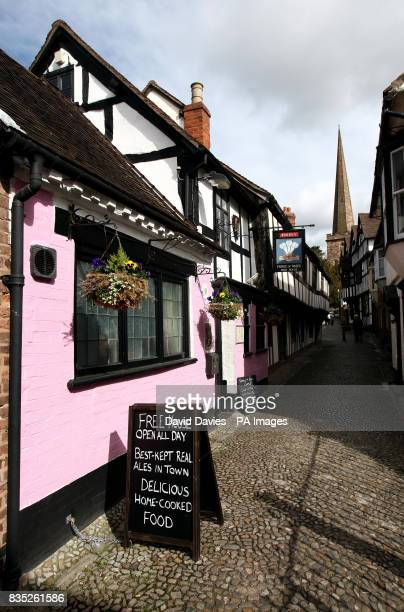 The Prince of Wales Pub in Church Lane Ledbury which has been painted pink by pranksters